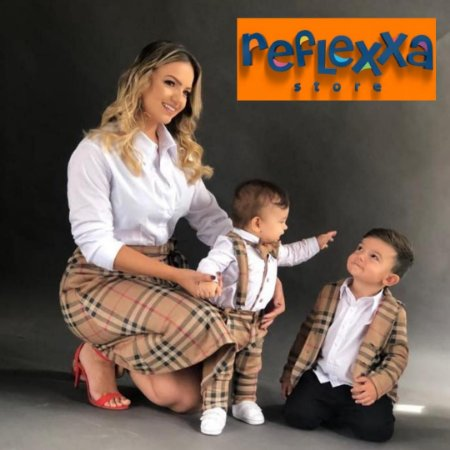 Conjunto Família Tal Pai Tal Mãe & Tal Filho Xadrez (Camisa, Saia, Calça/camisa com suspensório/gravata borboleta)