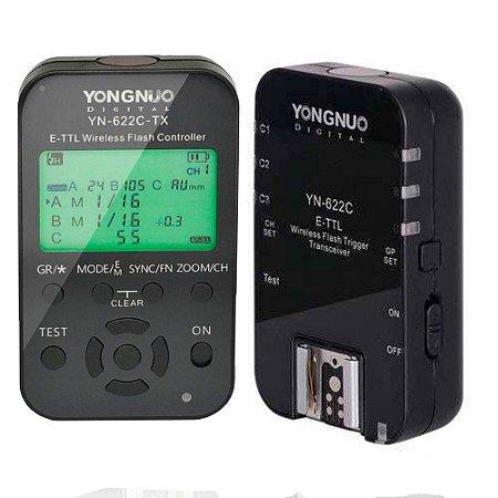 Radio Flash Automático Yongnuo YN-622C e TX Wireless E-TTL Para Canon