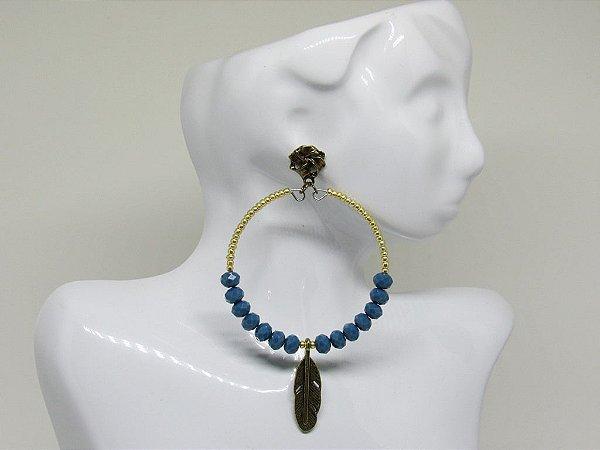 Maxi Argola Dourado Azul