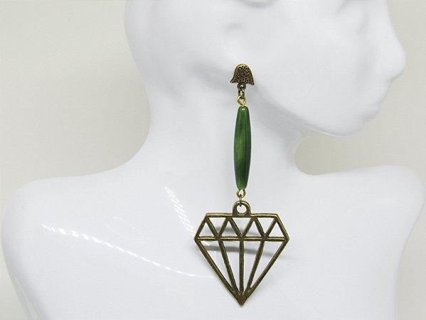 Brinco Diamante Verde OV