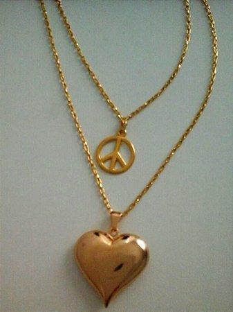 Colar Duplo - Paz e Amor