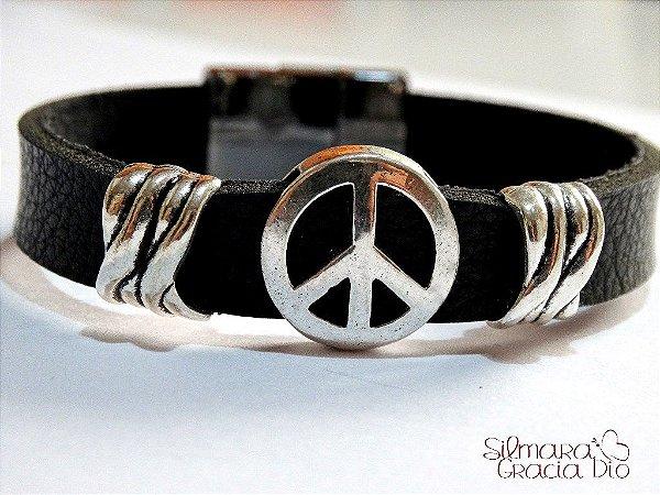 Pulseira Paz Amor Preta