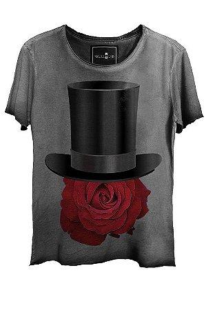 Camiseta  Estonada Gola Canoa Corte a Fio Rose Hat