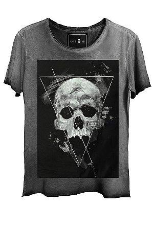 Camiseta  Estonada Gola Canoa Corte a Fio Skull Dark