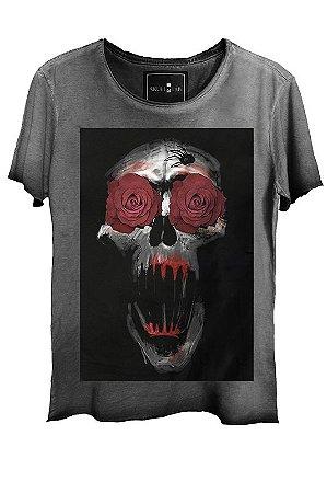 Camiseta  Estonada Gola Canoa Corte a Fio Skull Ghost Roses