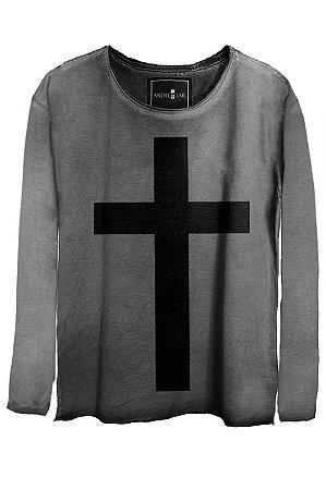 Camiseta  Estonada Gola Canoa Manga Longa Cross