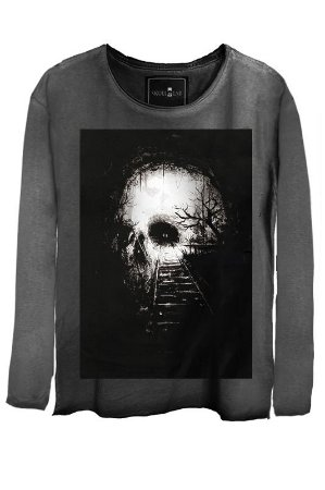 Camiseta  Estonada Gola Canoa Manga Longa Skull Destiny