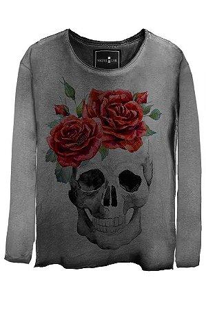 Camiseta  Estonada Gola Canoa Manga Longa Skull Smiling