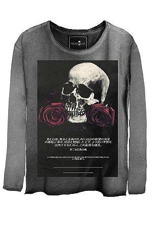Camiseta  Estonada Gola Canoa Manga Longa Skull Wars