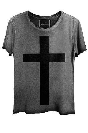 Camiseta  Estonada Gola Canoa Corte a Fio Cross