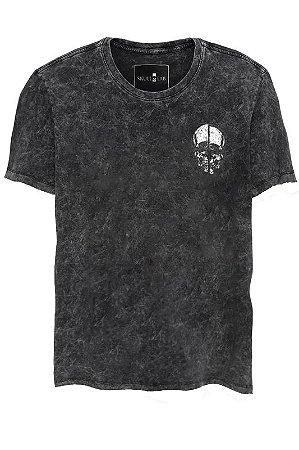 Camiseta Estonada Gola Canoa Marmorizada Broken Skull