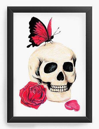 Quadro Decorativo Skull Butterfly