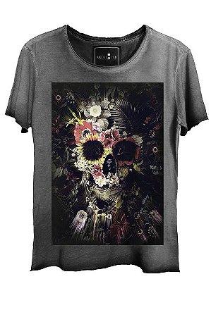 Camiseta  Estonada Gola Canoa Corte a Fio Skull Garden