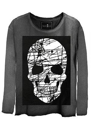 Camiseta Estonada Gola Canoa Manga Longa Skull Risco