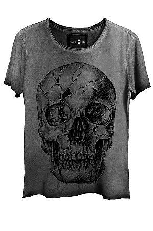 Camiseta  Estonada Gola Canoa Corte a Fio Skull Fantasy