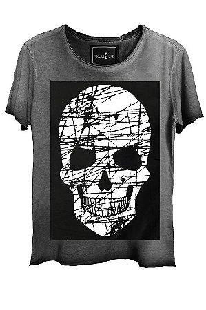 Camiseta  Estonada Gola Canoa Corte a Fio Skull Risco