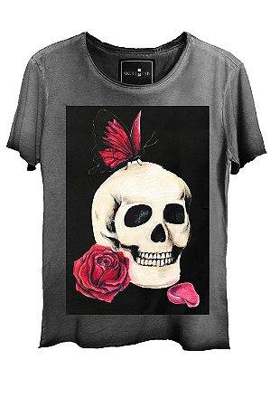 Camiseta  Estonada Gola Canoa Corte a Fio Skull