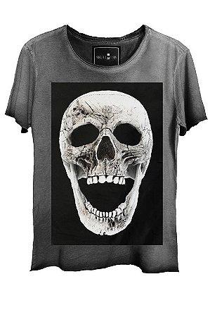 Camiseta  Estonada Gola Canoa Corte a Fio Skull Panik