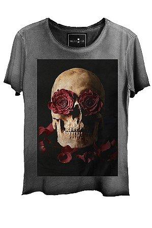 Camiseta  Estonada Gola Canoa Corte a Fio Skull Roses