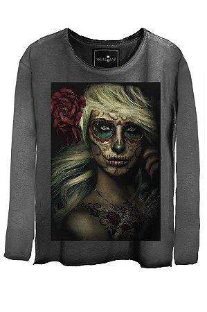 Camiseta Estonada Gola Canoa Manga Longa Sugar Skull