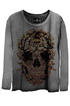 Camiseta Estonada Gola Canoa Manga Longa  Skull beautiful