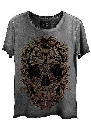 Camiseta Feminina Estonada Gola Canoa Corte a Fio Skull Beautiful