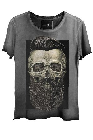 Camiseta Estonada Gola Canoa Corte a Fio Skull Barber