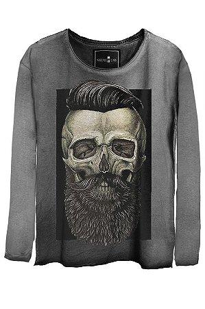 Camiseta Estonada Gola Canoa Manga Longa Skull Barber