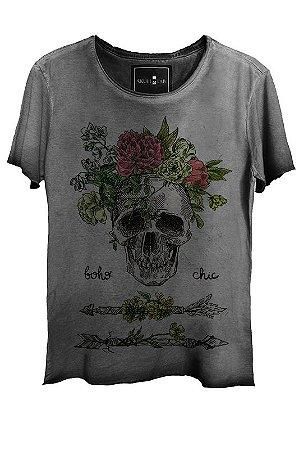 Camiseta Estonada Gola Canoa Corte a Fio Caveira Chic