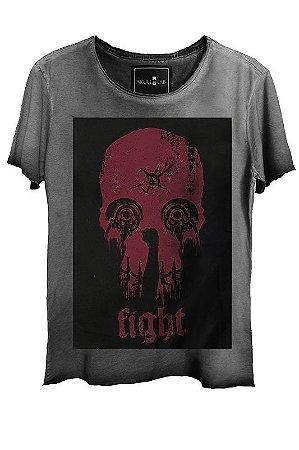 Camiseta Estonada Gola Canoa Corte a Fio Skull Fight