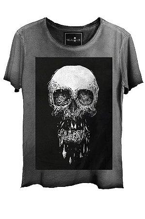 Camiseta Estonada Gola Canoa Corte a Fio Skull Death