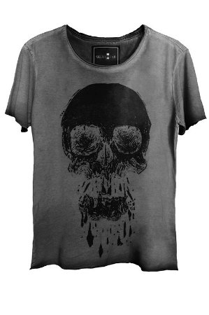 Camiseta Estonada Gola Canoa Corte a Fio Skull Black