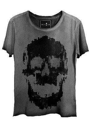 Camiseta Estonada Gola Canoa Corte a Fio Caveira Fantasma