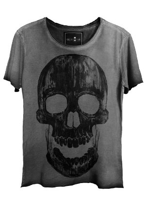 Camiseta Estonada Gola Canoa Corte a Fio Caveira Skull Historic