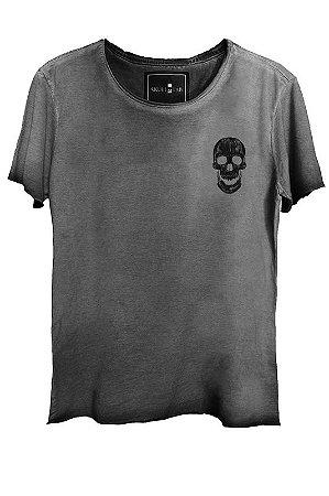 DUPLICADO - Camiseta Estonada Corte a Fio Caveira Skull Historic Bolso