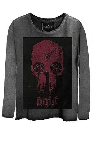 Camiseta Estonada Gola Canoa Manga Longa Skull Fight