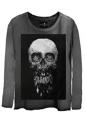 Camiseta Estonada Gola Canoa Manga Longa Skull Death
