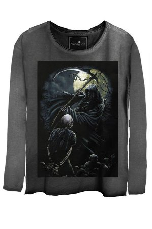Camiseta Estonada Gola Canoa Manga Longa Skull Axe
