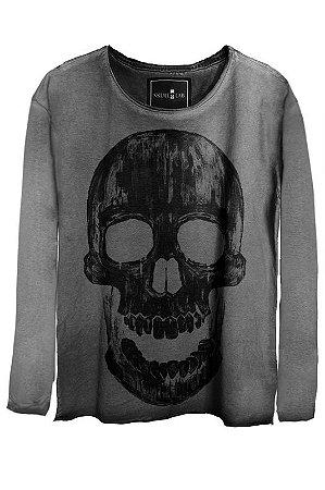 Camiseta Estonada Gola Canoa Manga Longa Skull Historic