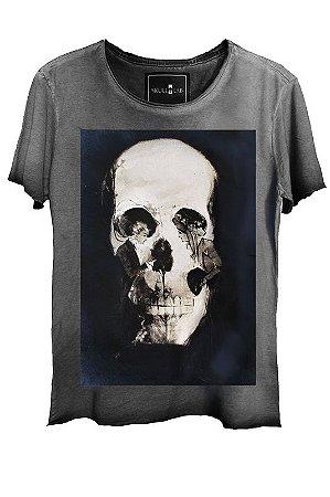 Camiseta Estonada Gola Canoa Corte a Fio Skull Couple