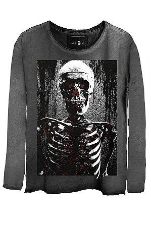 Camiseta Estonada Gola Canoa Manga Longa Esqueleto