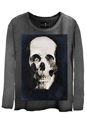 Camiseta Estonada Gola Canoa Manga Longa Skull Couple