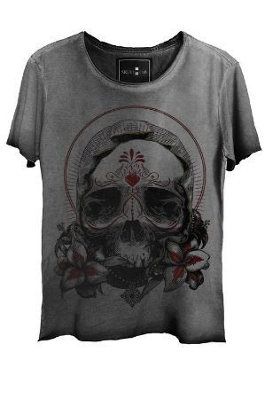 Camiseta Estonada Gola Canoa Corte a Fio Skull Exotic