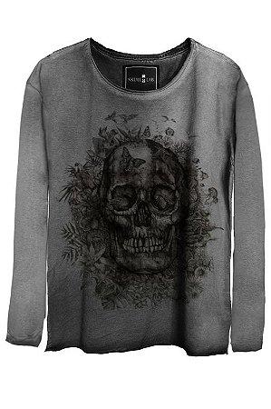 Camiseta Estonada Gola Canoa Manga Longa   Scrub Skull
