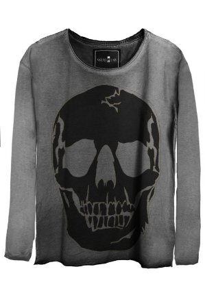 Camiseta Estonada Gola Canoa Manga Longa  Black Skull 2