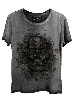 Camiseta Estonada Gola Canoa Corte a Fio Scrub Skull