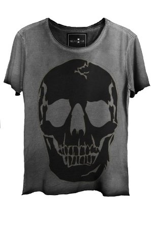 Camiseta Estonada Gola Canoa Corte a Fio Black Skull 2