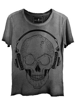 Camiseta Estonada Gola Canoa Corte a Fio Skull Phone