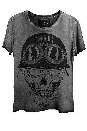 Camiseta Estonada Gola Canoa Corte a Fio Skull  Pilot