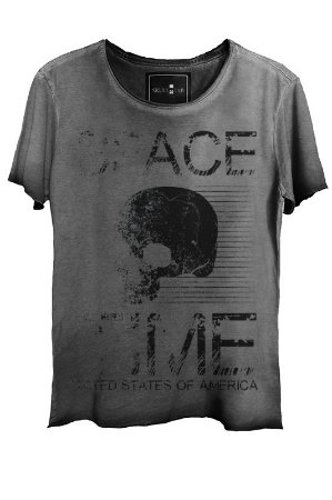 Camiseta Estonada Gola Canoa Corte a Fio Skull  States